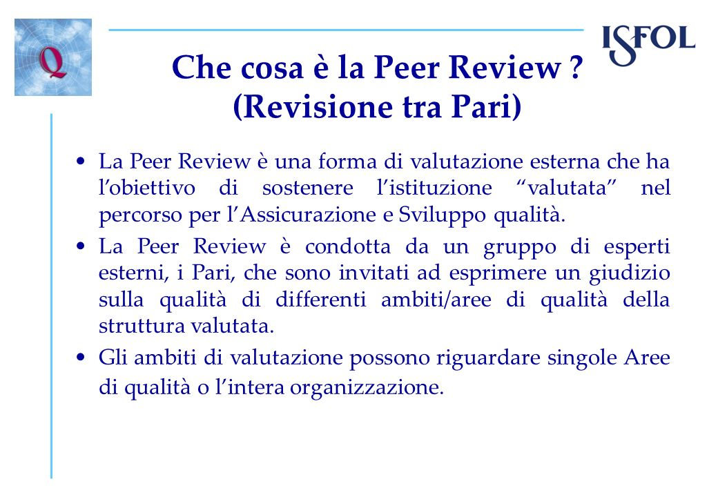 Che cosa è la Peer Review
