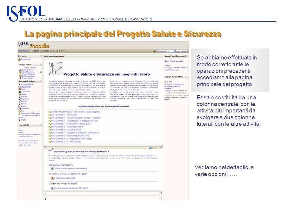 La pagina principale del Progetto Salute e Sicurezza