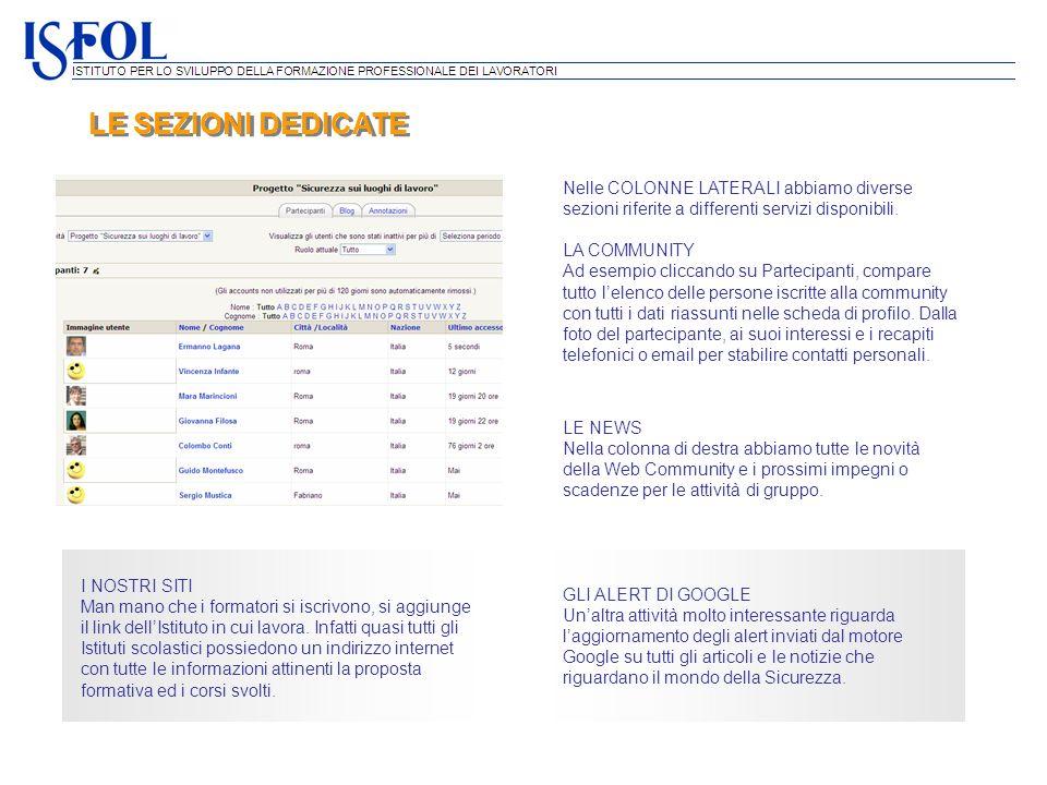 LE SEZIONI DEDICATE Nelle COLONNE LATERALI abbiamo diverse sezioni riferite a differenti servizi disponibili.