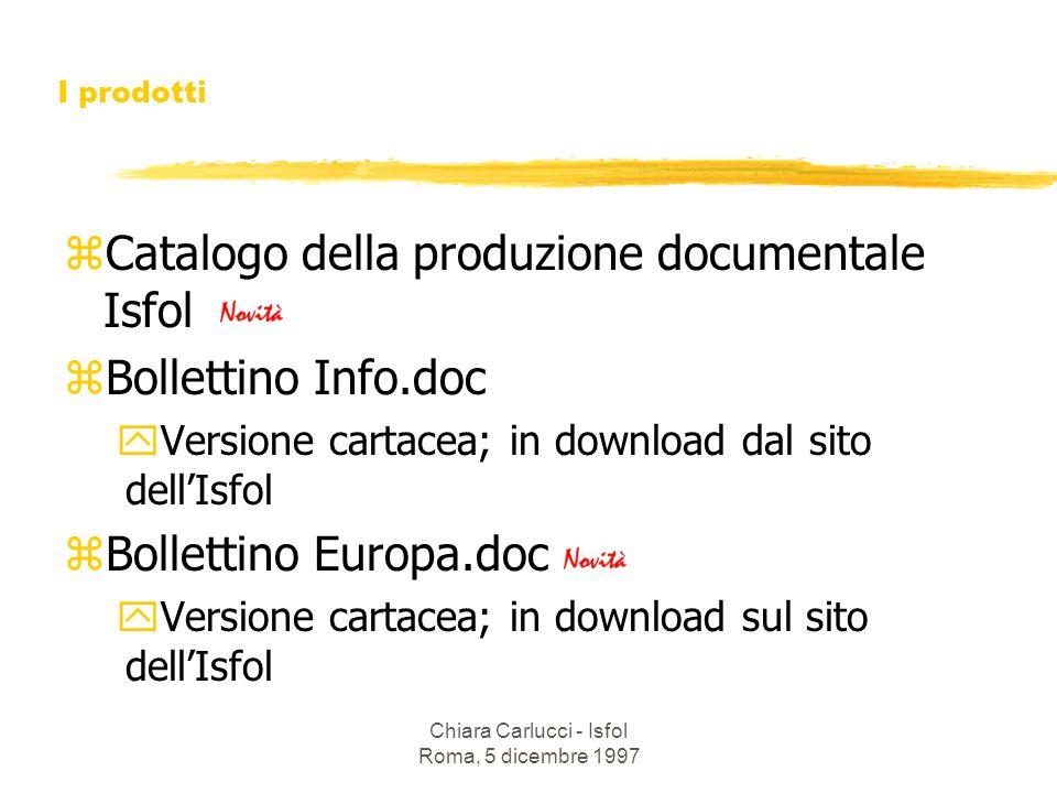 Chiara Carlucci - Isfol Roma, 5 dicembre 1997