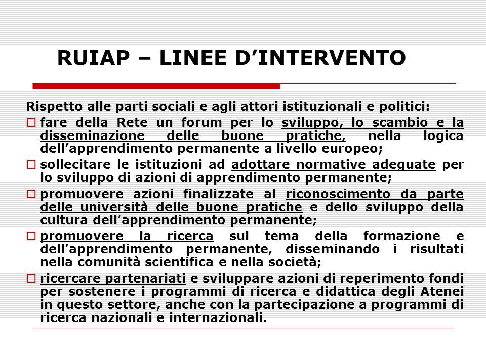 RUIAP – LINEE D'INTERVENTO