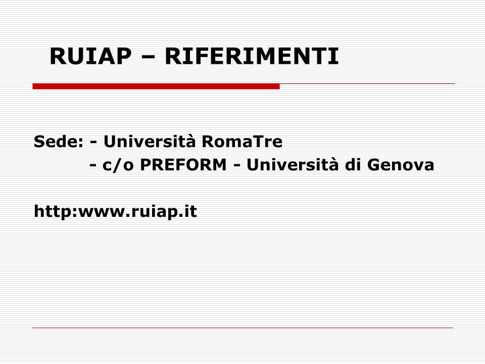 RUIAP – RIFERIMENTI Sede: - Università RomaTre