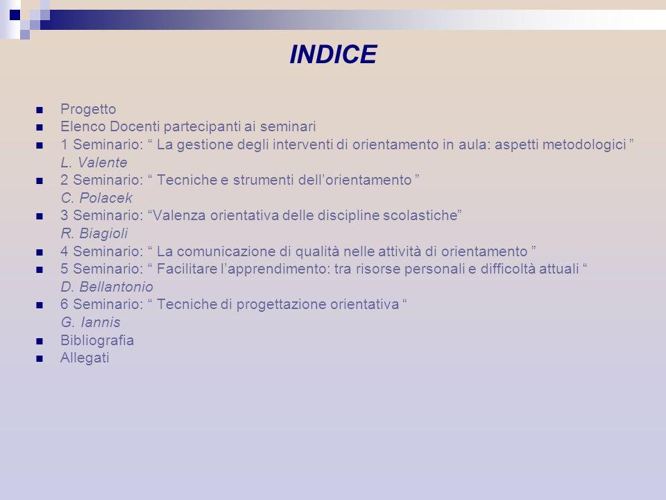 INDICE Progetto Elenco Docenti partecipanti ai seminari