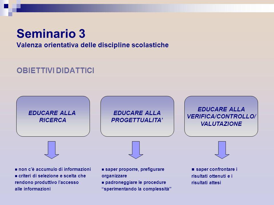 Seminario 3 Valenza orientativa delle discipline scolastiche