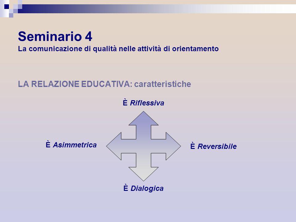 Seminario 4 La comunicazione di qualità nelle attività di orientamento