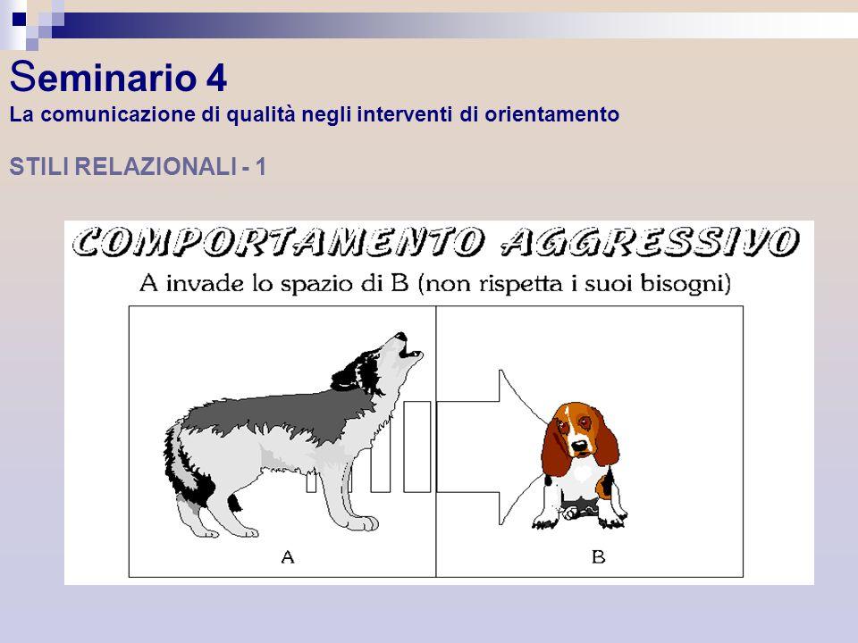 Seminario 4 La comunicazione di qualità negli interventi di orientamento STILI RELAZIONALI - 1