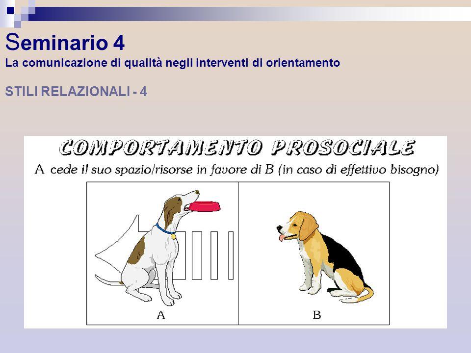 Seminario 4 La comunicazione di qualità negli interventi di orientamento STILI RELAZIONALI - 4