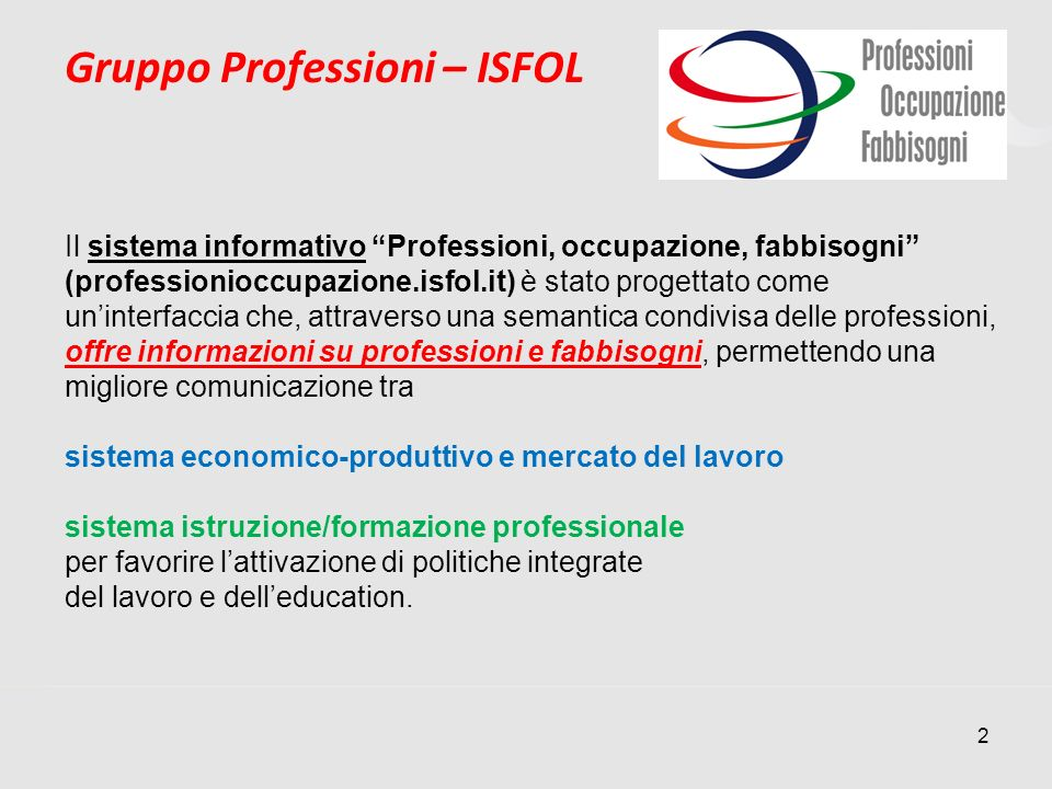 Gruppo Professioni – ISFOL