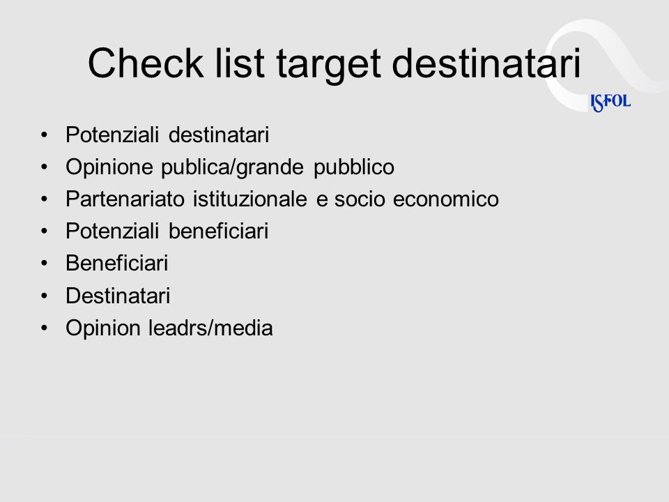 Check list target destinatari