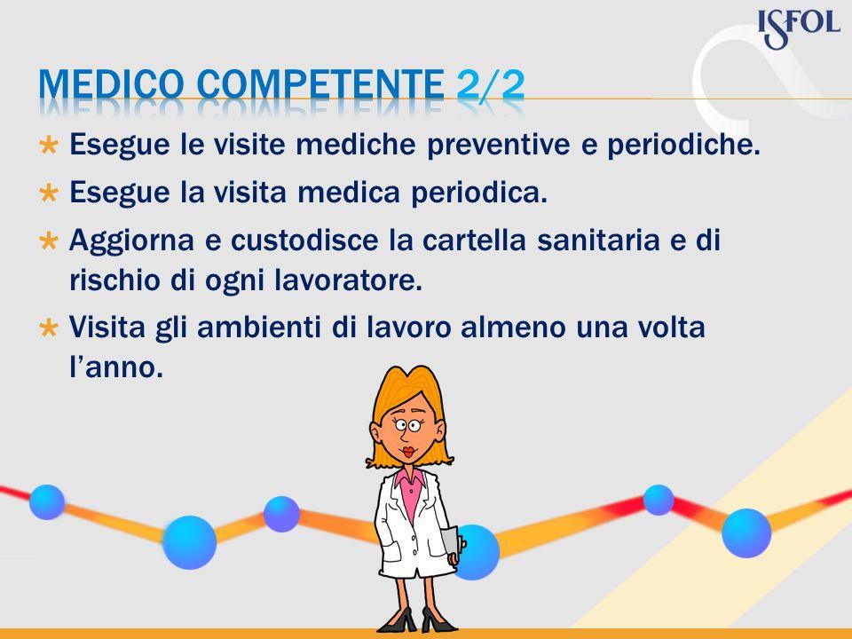 MEDICO COMPETENTE 2/2 Esegue le visite mediche preventive e periodiche. Esegue la visita medica periodica.