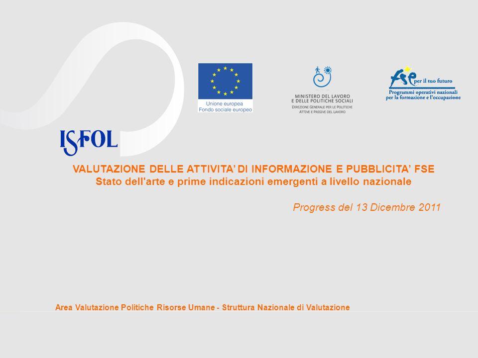 VALUTAZIONE DELLE ATTIVITA' DI INFORMAZIONE E PUBBLICITA' FSE