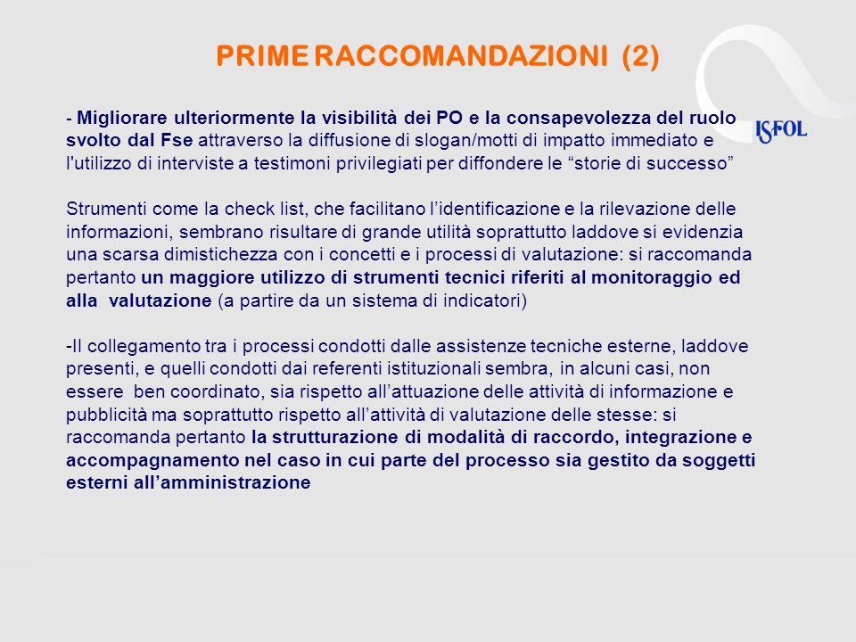 PRIME RACCOMANDAZIONI (2)