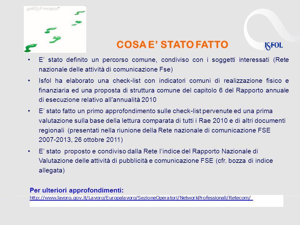 COSA E' STATO FATTO E' stato definito un percorso comune, condiviso con i soggetti interessati (Rete nazionale delle attività di comunicazione Fse)