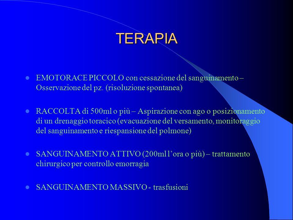 TERAPIA EMOTORACE PICCOLO con cessazione del sanguinamento – Osservazione del pz. (risoluzione spontanea)