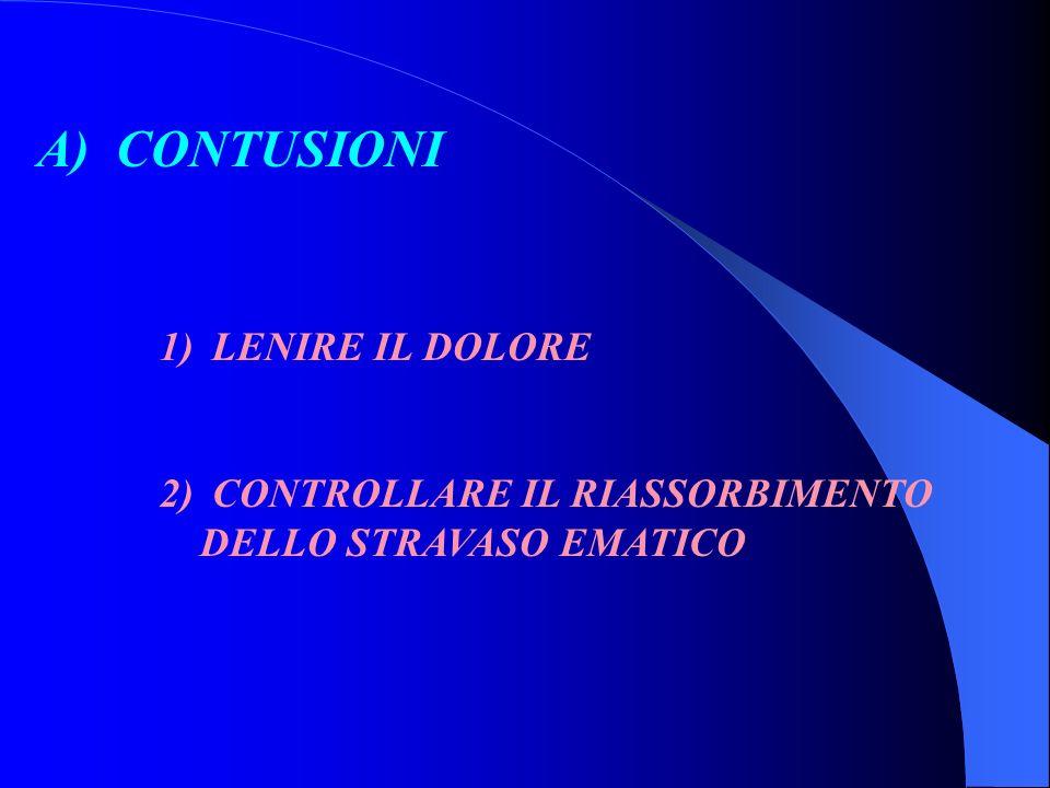 A) CONTUSIONI LENIRE IL DOLORE CONTROLLARE IL RIASSORBIMENTO