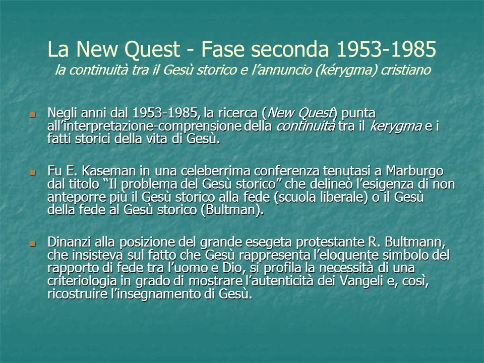 La New Quest - Fase seconda 1953-1985 la continuità tra il Gesù storico e l'annuncio (kérygma) cristiano