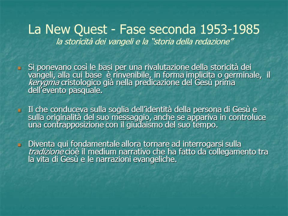 La New Quest - Fase seconda 1953-1985 la storicità dei vangeli e la storia della redazione