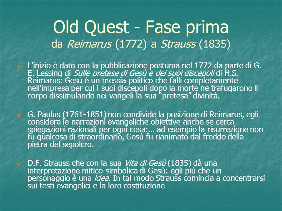 Old Quest - Fase prima da Reimarus (1772) a Strauss (1835)