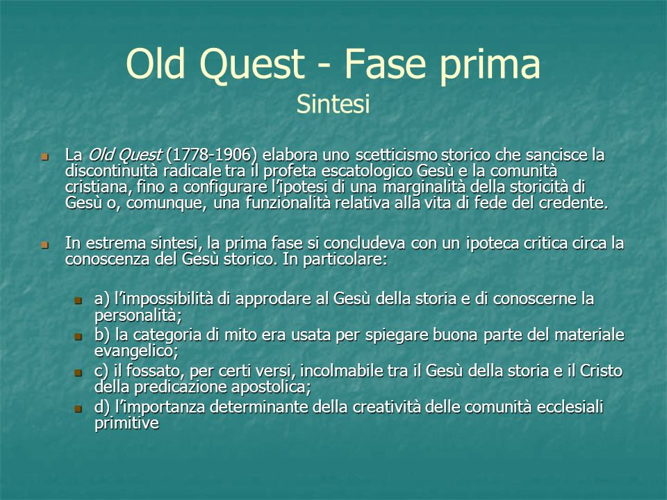 Old Quest - Fase prima Sintesi