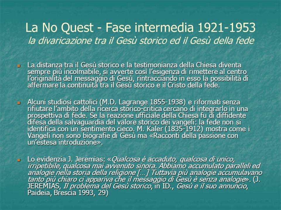 La No Quest - Fase intermedia 1921-1953 la divaricazione tra il Gesù storico ed il Gesù della fede