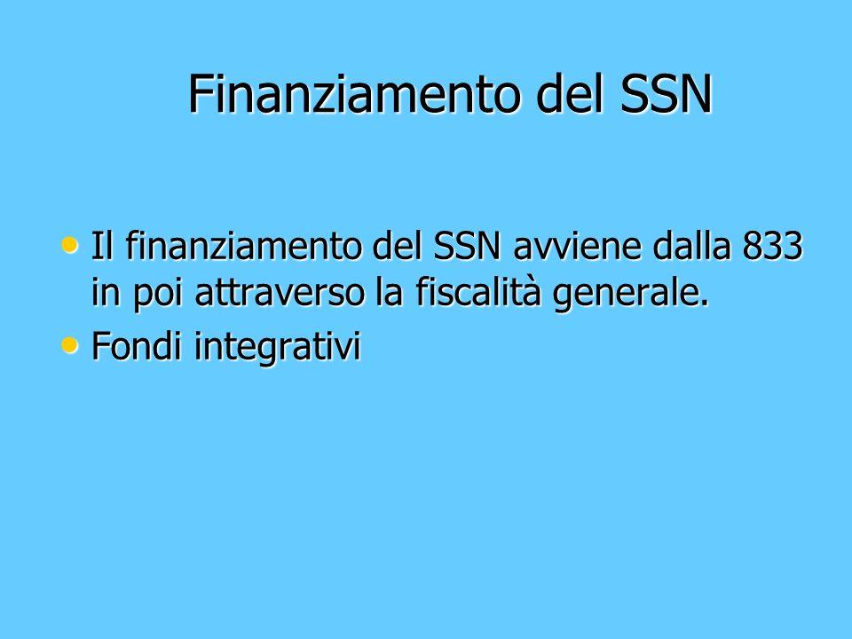 Finanziamento del SSN Il finanziamento del SSN avviene dalla 833 in poi attraverso la fiscalità generale.