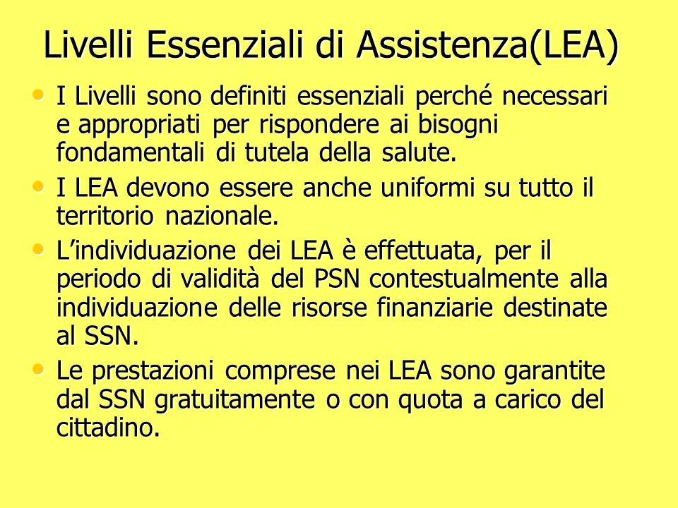 Livelli Essenziali di Assistenza(LEA)