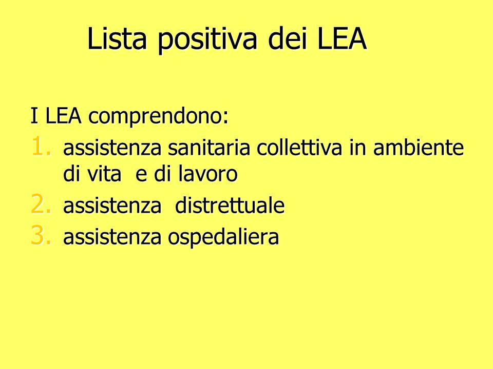 Lista positiva dei LEA I LEA comprendono: