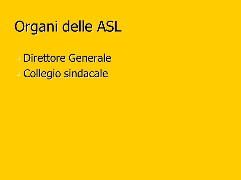 Organi delle ASL Direttore Generale Collegio sindacale