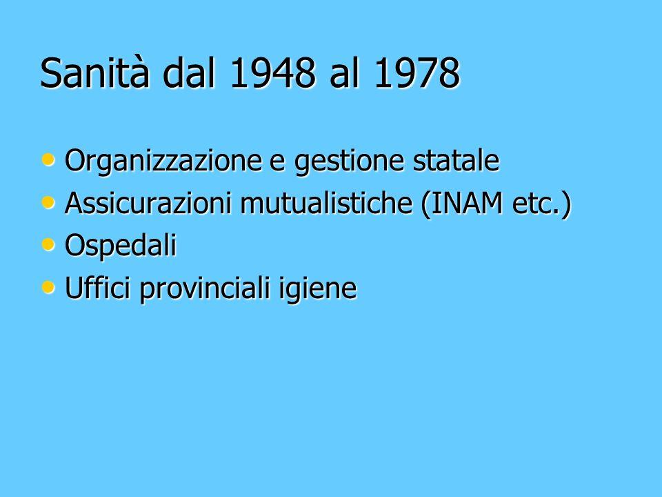Sanità dal 1948 al 1978 Organizzazione e gestione statale