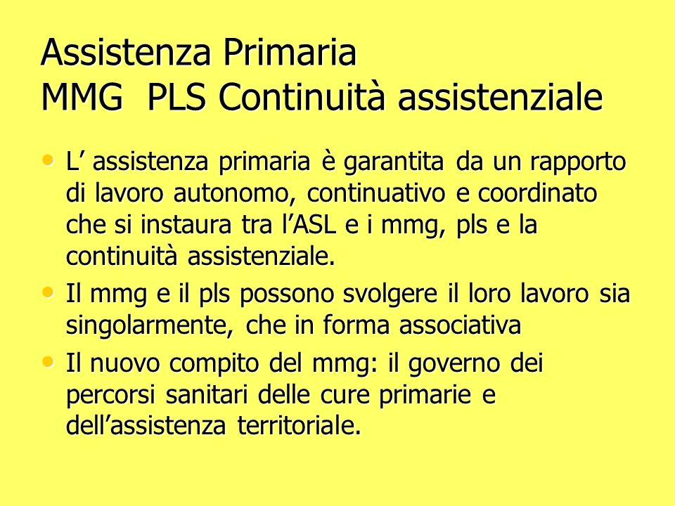 Assistenza Primaria MMG PLS Continuità assistenziale