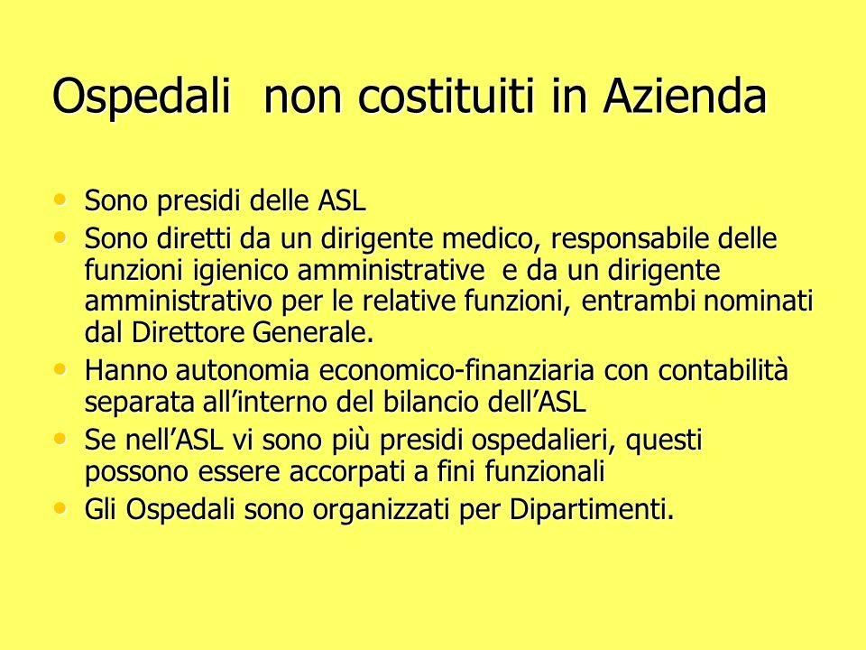 Ospedali non costituiti in Azienda