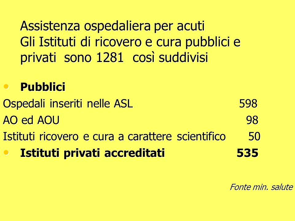 Assistenza ospedaliera per acuti Gli Istituti di ricovero e cura pubblici e privati sono 1281 così suddivisi
