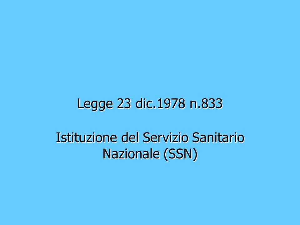 Istituzione del Servizio Sanitario Nazionale (SSN)