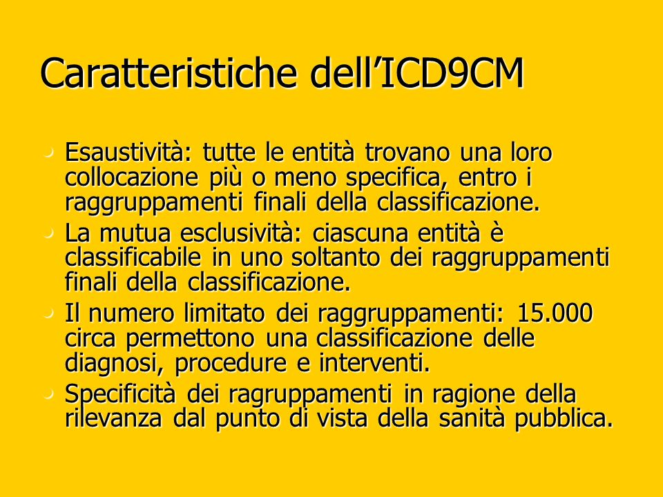 Caratteristiche dell'ICD9CM