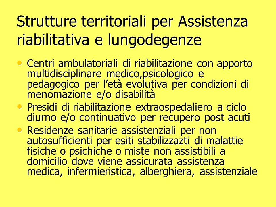 Strutture territoriali per Assistenza riabilitativa e lungodegenze