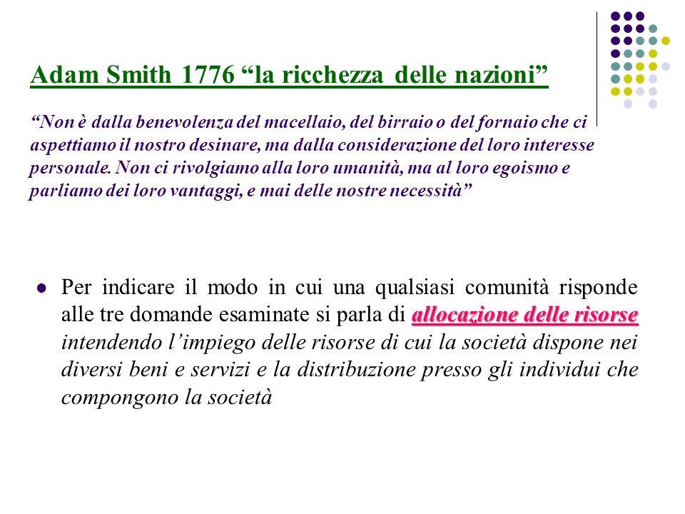 Adam Smith 1776 la ricchezza delle nazioni Non è dalla benevolenza del macellaio, del birraio o del fornaio che ci aspettiamo il nostro desinare, ma dalla considerazione del loro interesse personale. Non ci rivolgiamo alla loro umanità, ma al loro egoismo e parliamo dei loro vantaggi, e mai delle nostre necessità
