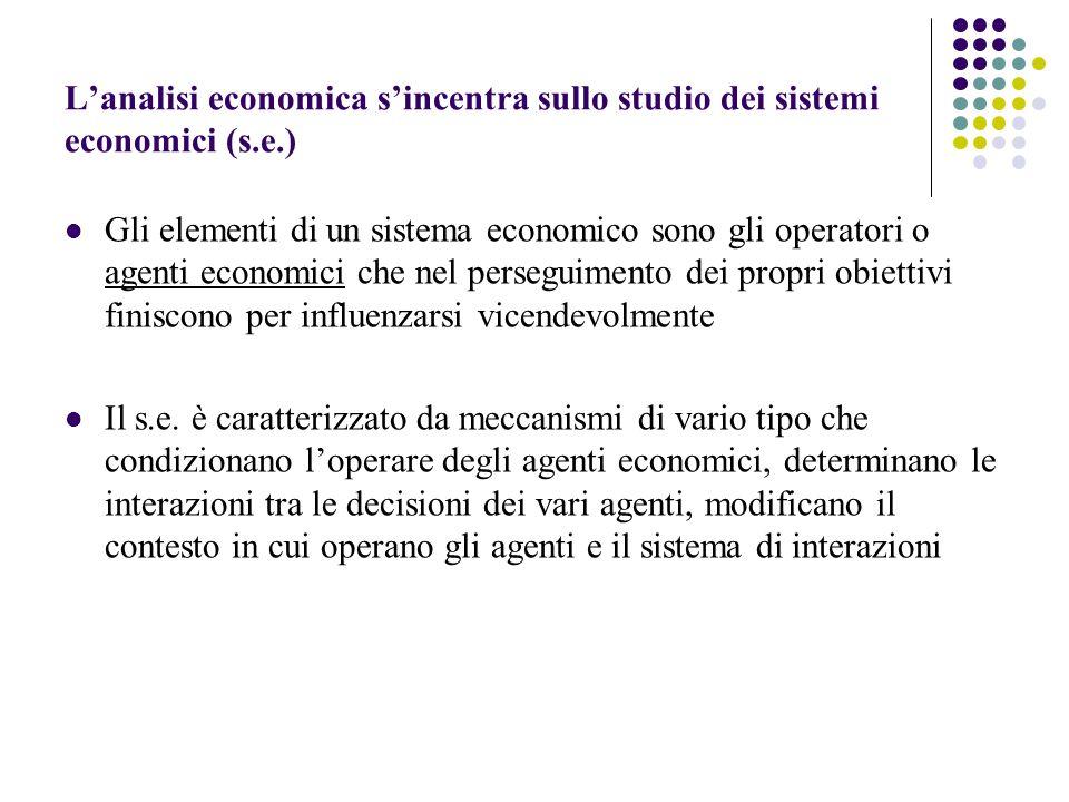 L'analisi economica s'incentra sullo studio dei sistemi economici (s.e.)