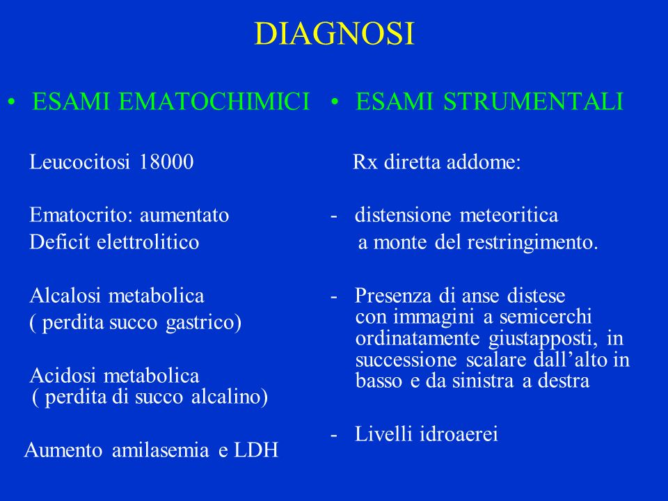 DIAGNOSI ESAMI EMATOCHIMICI ESAMI STRUMENTALI Leucocitosi 18000