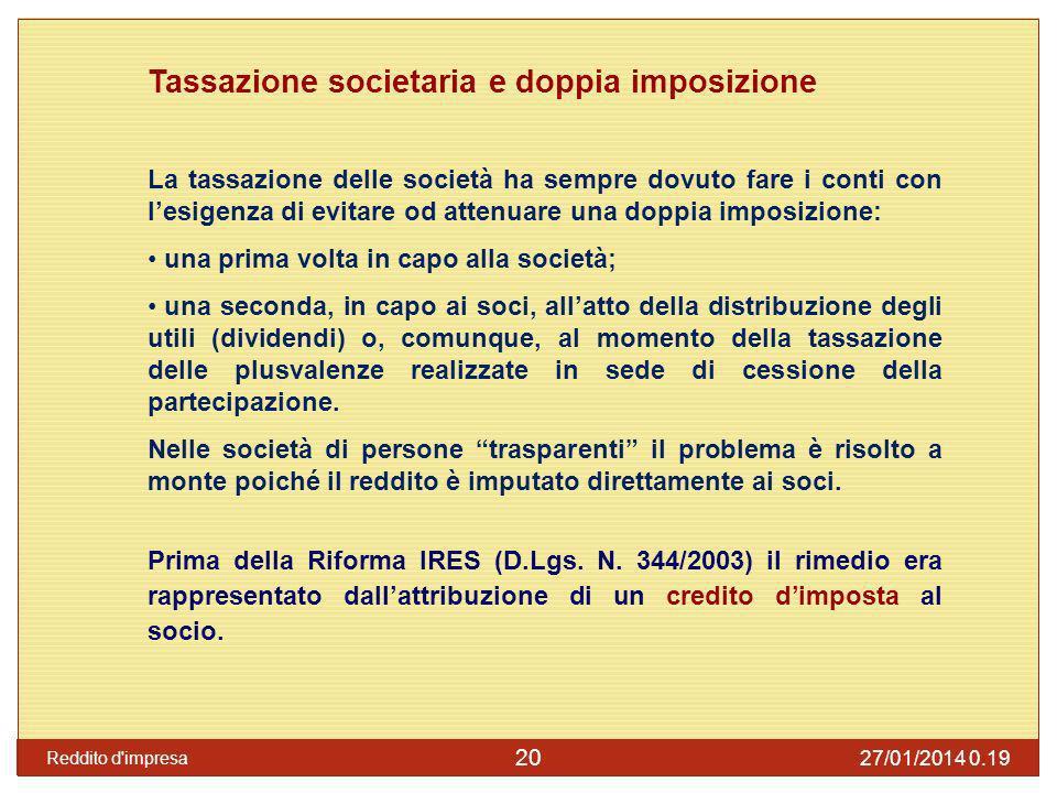 Tassazione societaria e doppia imposizione