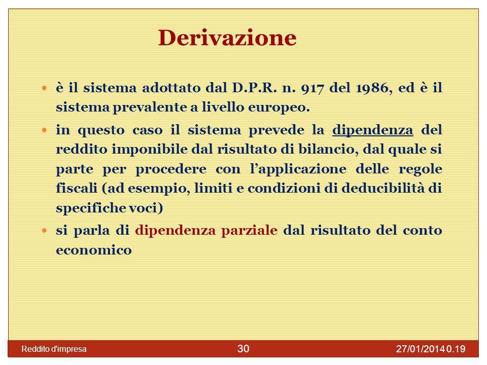 Derivazione è il sistema adottato dal D.P.R. n. 917 del 1986, ed è il sistema prevalente a livello europeo.