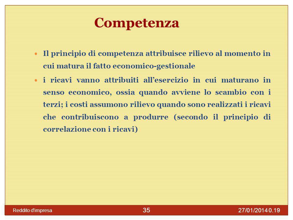 Competenza Il principio di competenza attribuisce rilievo al momento in cui matura il fatto economico-gestionale.