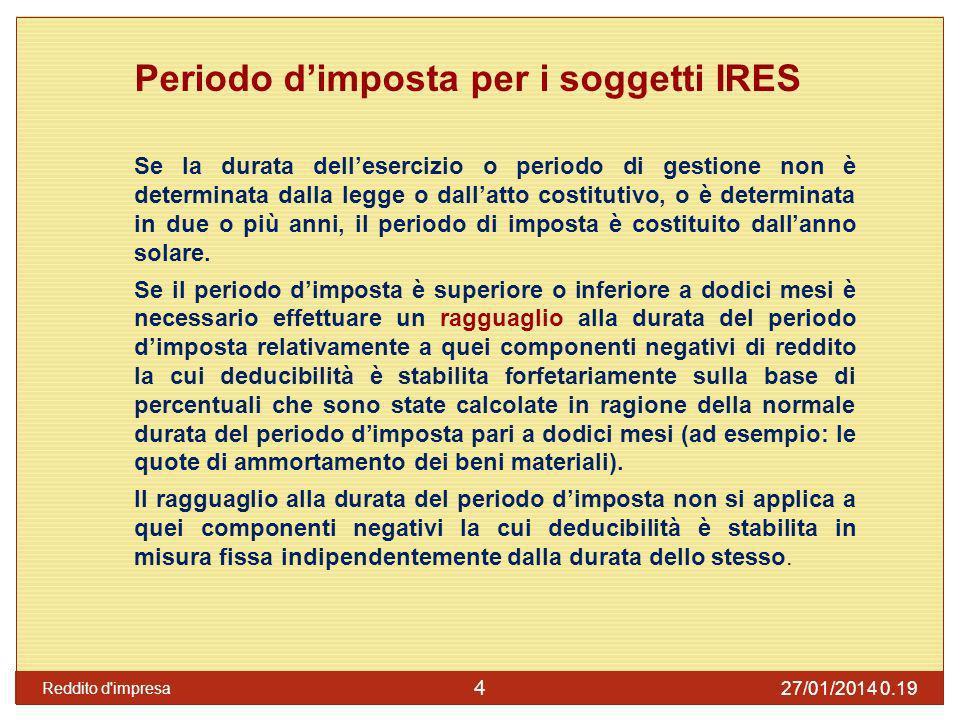 Periodo d'imposta per i soggetti IRES