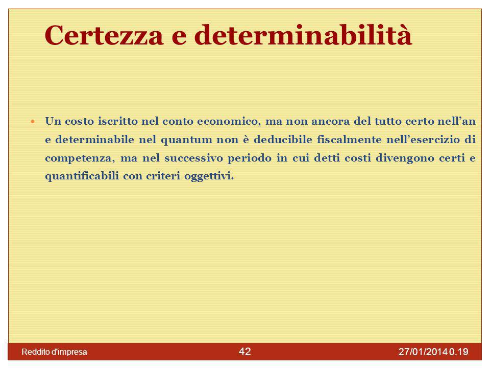 Certezza e determinabilità