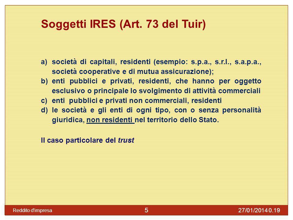 Soggetti IRES (Art. 73 del Tuir)