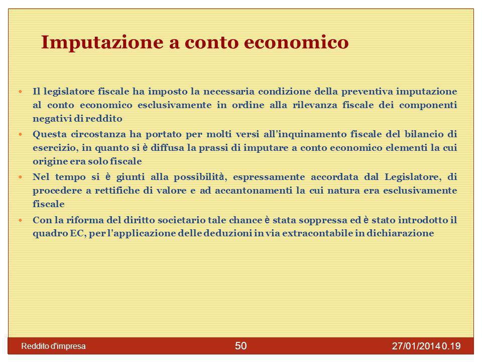 Imputazione a conto economico