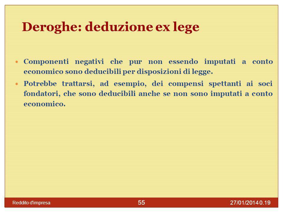 Deroghe: deduzione ex lege