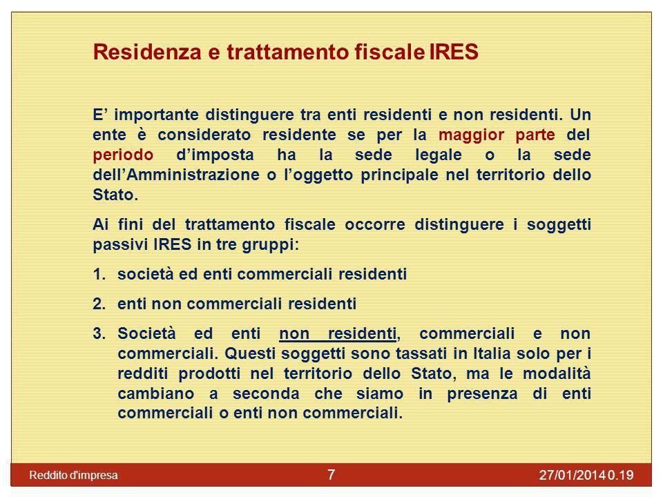 Residenza e trattamento fiscale IRES