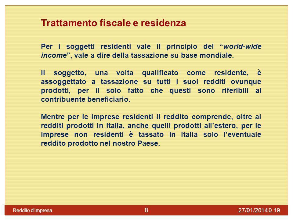 Trattamento fiscale e residenza