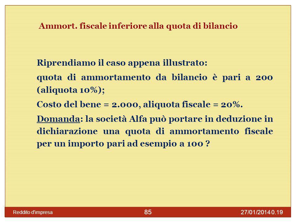 Ammort. fiscale inferiore alla quota di bilancio