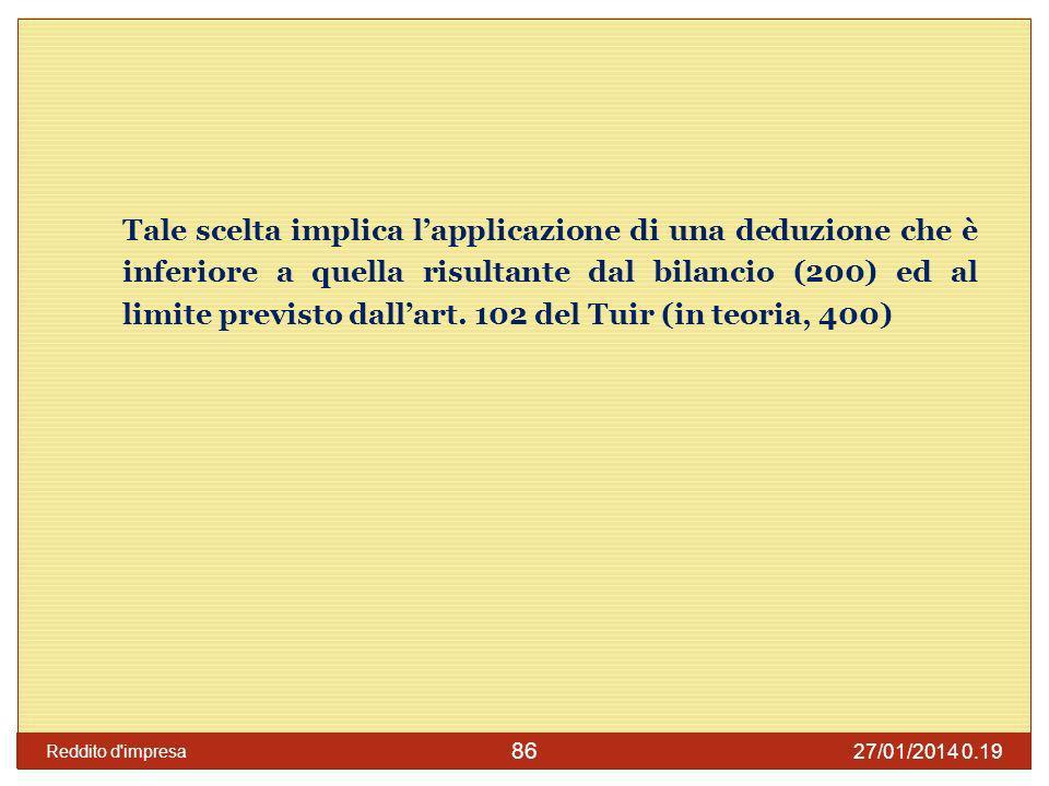 Tale scelta implica l'applicazione di una deduzione che è inferiore a quella risultante dal bilancio (200) ed al limite previsto dall'art. 102 del Tuir (in teoria, 400)